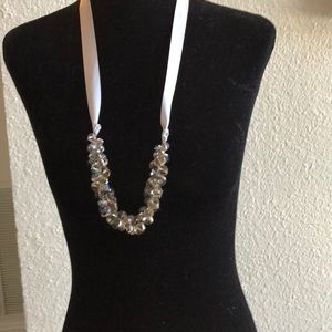 Crystal cluster necklace w satin tie